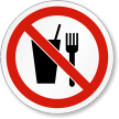 No Eating Or Drinking ISO Prohibition Symbol Label