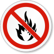 No Fire Or Open Flame ISO Prohibition Label