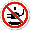 No Liquid Near Plug ISO Prohibition Symbol Label