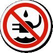No Liquid Near Plug ISO Prohibition Symbol Label