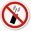 No Mobile Phones Or Transmitters ISO Prohibition Label