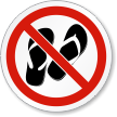 No Open Toed Footwear ISO Prohibition Symbol Label