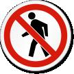 No Pedestrians ISO Prohibition Safety Symbol Label