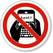 No Texting ISO Prohibition Safety Symbol Label