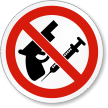 No Weapons And Drugs ISO Prohibition Symbol Label