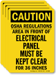 OSHA Regulations, Electrical Panel Kept Clear Label