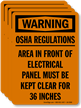 OSHA Regulations, Area Of Electrical Panel Label