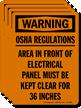 OSHA Regulations, Area Of Electrical Panel Label