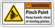 Pinch Point Keep Hands Clear ANSI Warning Label