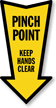 Pinch Point Arrow Safety Label