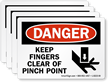 Keep Fingers Pinch Point Danger Label