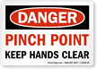 Danger Pinch Point Feet Clear Vinyl Label