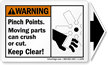 ANSI Warning Label with Detachable Arrow