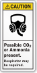 Possible Co2 Or Ammonia Present ANSI Caution Label