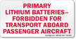Primary Lithium Batteries Label