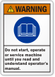 Read And Understand Operators Manual ANSI Warning Label