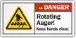 Rotating Auger Keep Hands Clear ANSI Danger Label