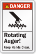 Rotating Auger Keep Hands Clear Danger Label