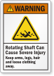 Rotating Shaft Can Cause Severe Injury Warning Label