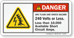 Arc Flash Shock Hazard 240 Volts Label