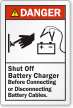 Shut Off Battery Charger Before Connecting/Disconnecting Label