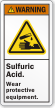 Sulfuric Acid Wear Protective Equipment Label