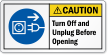 Turn Off And Unplug Before Opening Caution Label