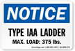 Type IAA Ladder, Max Load 375 LBS Label