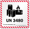 UN 3480 Lithium Battery Label