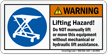 Warning Lifting Hazard, Dont Lift Manually Label