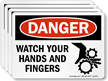 Watch Your Hands And Fingers Label With Graphic