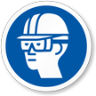 Wear Hard Hat, Goggles ISO Mandatory Label
