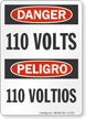 110 Volts Bilingual OSHA Danger Sign
