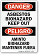 Bilingual Asbestos Biohazard Keep Out OSHA Danger Sign