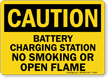 Caution Battery Charging Smoking Flame Sign