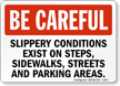Be Careful Slippery Conditions Sign