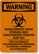 Bilingual Biohazardous Waste Storage Area Sign