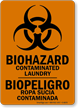 Bilingual Contaminated Laundry Biohazard Sign