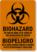 Bilingual No Food Stored In Refrigerator Biohazard Sign