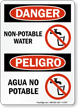 Danger Non-Potable Water Peligro Agua No Potable Sign