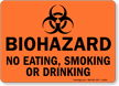 Biohazard Eating Smoking Drinking Sign