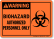 Warning Biohazard Authorized Personnel Sign