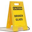 Caution Broken Glass Free-Standing Sign
