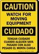 Bilingual Caution Moving Equipment Sign
