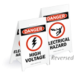 Danger High Voltage Reversible Fold-Ups Floor Sign