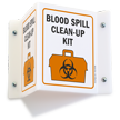 Blood Spill Clean-up Kit (biohazard graphic) Sign