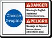 Custom Bilingual ANSI Danger Peligro Warning Sign