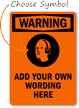 Custom OSHA Warning Ear Protection Required Sign