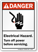 Electrical Hazard Turn Off Power Danger Sign