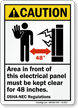 Electrical Panel Keep Clear 48 Inches Caution Sign